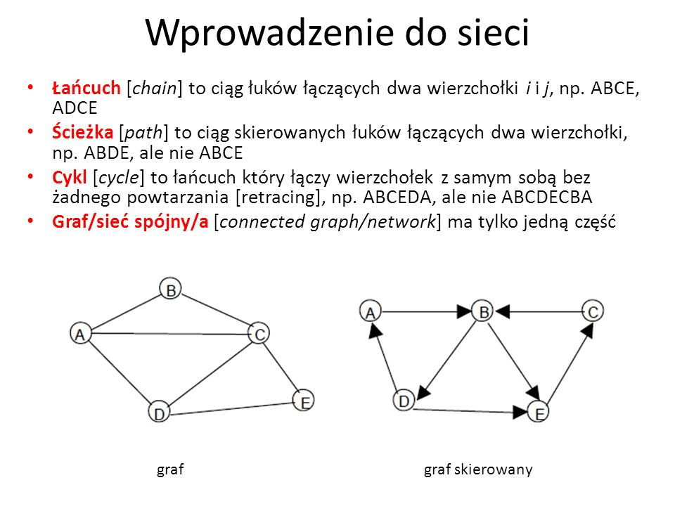 Wprowadzenie do sieci Łańcuch [chain] to ciąg łuków łączących dwa wierzchołki i i j, np. ABCE, ADCE.